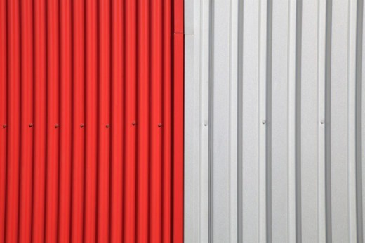Stock Photo: 1672R-71880 Red and white metal siding