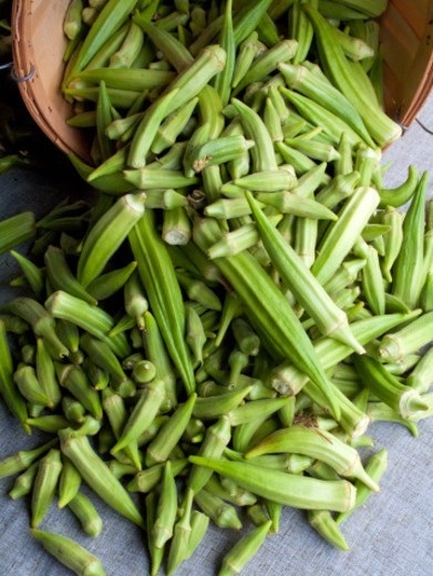 Basket of okra at a farmers market : Stock Photo