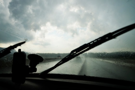 Stock Photo: 1672R-72681 Driving in heavy rain on a highway