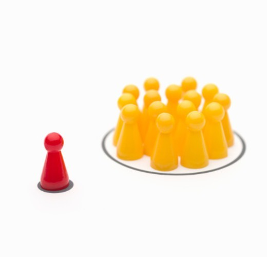 Symbolic visualization of a strategic situation or dynamic in business or personal relations. : Stock Photo