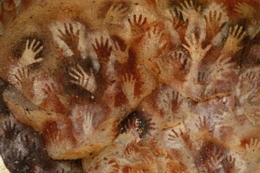 Stock Photo: 1672R-7394 Argentina, Patagonia, Rio Pinturas, Cueva de las Manos, cave paintings