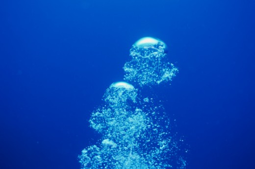 These bubbles are from a scuba diver's exhaust, Chichijima, Ogasawara Islands, Tokyo, Japan. : Stock Photo
