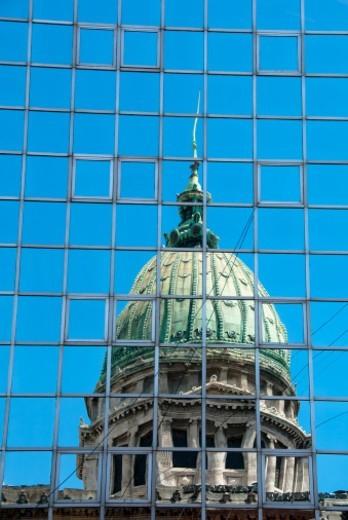 Stock Photo: 1672R-75704 Reflection of Palace of Congress (Palacio del Congreso), Buenos Aires, Argentina.