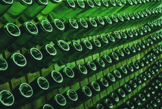 South Africa, Western Cape, Paarl, rows of bottles : Stock Photo