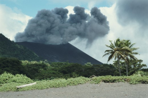 Smoke coming from Mount Yasur, near village of Ipeukel, Sulphur Bay, Tanna Island, Tafea, Vanuatu : Stock Photo