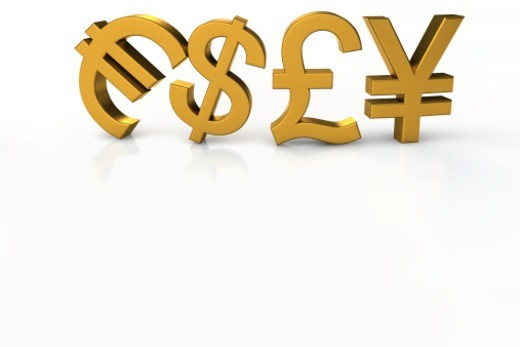 Euro, Dollar, Pound and Yen currency symbols : Stock Photo