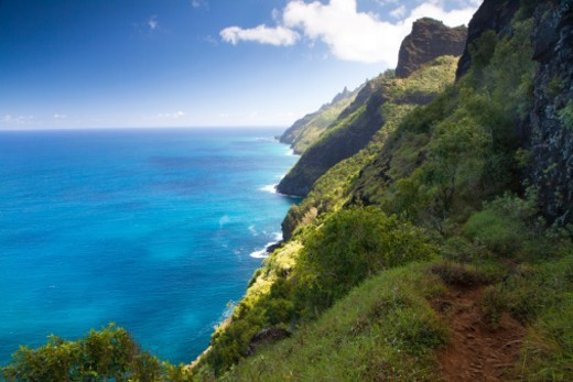 Stock Photo: 1672R-77385 Ocean view on the Kalalau trail along the tropical Na Pali Coast.