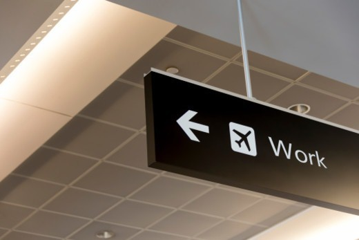 Stock Photo: 1672R-77761 Airport gate sign with 'work' written on it
