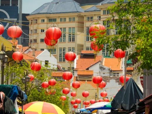 Stock Photo: 1672R-79314 Chinese lanterns, Chinatown, Singapore