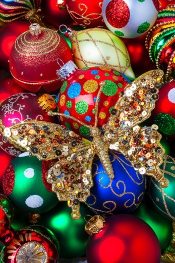 Butterfly ornament and Christmas decorations : Stock Photo