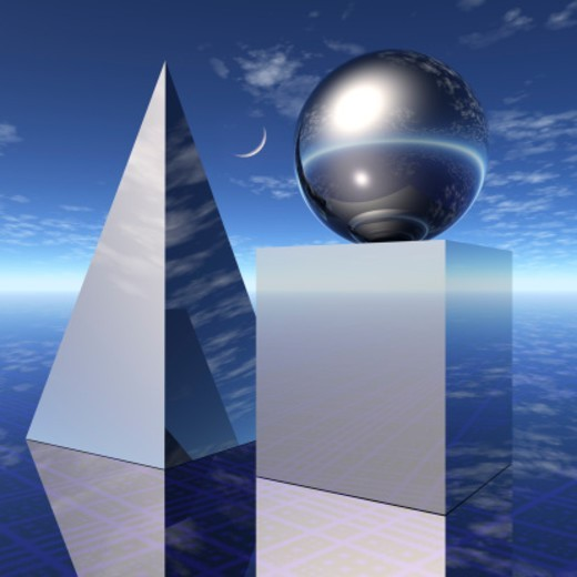Deep blue sky with crescent moon and a still life of silver chrome-colored cube, pyramid and sphere shapes arranged on a reflective endless mystical landscape surface. : Stock Photo