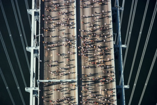 New york City Marathon, 1978. Verrazzano Bridge, New York City, New York, USA : Stock Photo
