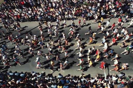 Stock Photo: 1672R-8583 Boston Marathon, Massachusetts, USA. 1980