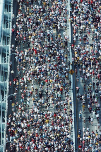 Verrazzano Bridge. New York City Marathon, New York, USA. 1990 : Stock Photo