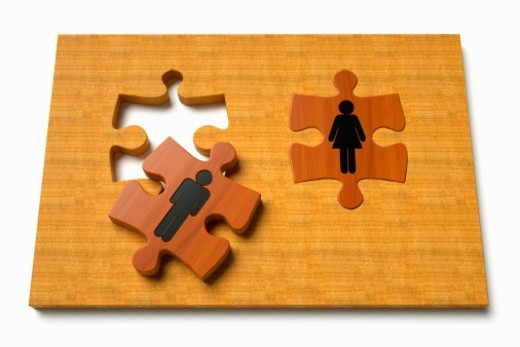Jigsaw puzzle with two pieces representing a relationship good or bad, or dating looking for love or romance. : Stock Photo