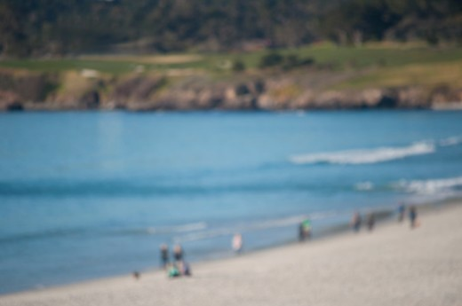 White sandy beach makes Carmel Beach so attractive to locals and tourists. : Stock Photo