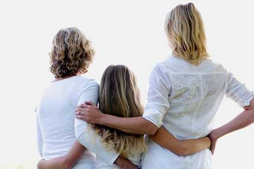 Stock Photo: 1678-136 Rear view of a girl standing with her mother and grandmother