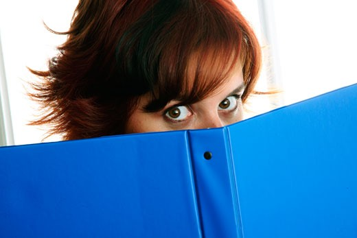Stock Photo: 1688-135B Businesswoman holding a notebook in front of her face