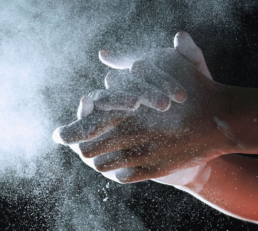 Human hands covered in powder : Stock Photo
