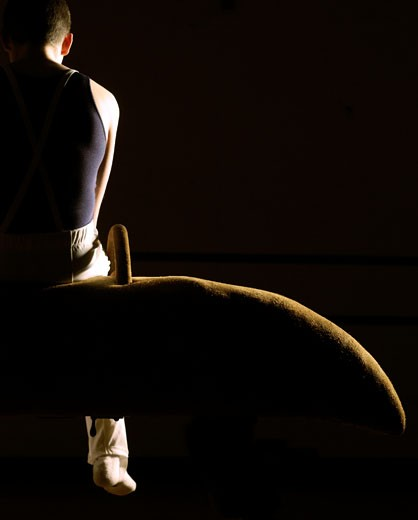 Rear view of a male gymnast sitting on a pommel horse : Stock Photo