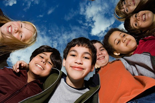 Stock Photo: 1693-118 Low angle view of a group of children