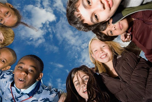 Low angle view of a group of children : Stock Photo