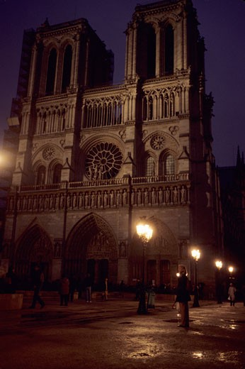 Stock Photo: 1701R-1146 Paris, France. Notre Dame Cathedral on a winter evening.