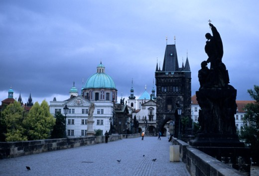 Prague, Czech Republic. The Charles Bridge early in the morning before the tourists arrive. : Stock Photo