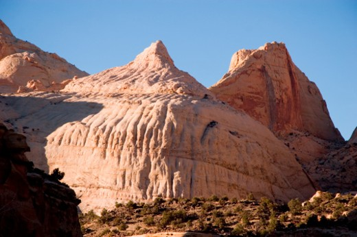 Stock Photo: 1701R-1255 Capitol Reef National Park, Utah. The stone formation that resembles the US Capitol, naming the park.