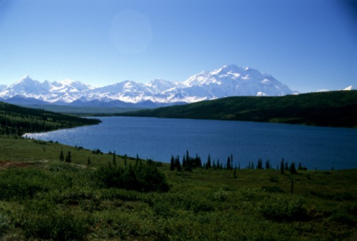 Wonder Lake, Denali National Park, Alaska, United States. Mt. McKinley, the tallest mountain in North America. : Stock Photo