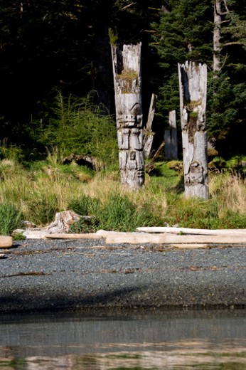 Ninstints, Gwaii Haanas National Park, Queen Charlotte Islands, British Columbia, Canada : Stock Photo