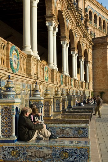 Sevilla, Andalucia, Spain, Plaza de Espana : Stock Photo