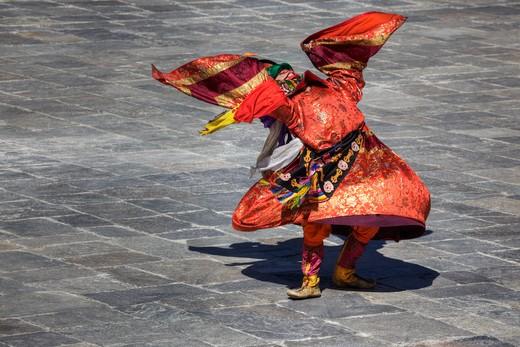Stock Photo: 1701R-37436 Thimphu Tsechu Festival, Tashichho Dzong, Bhutan, Asia.