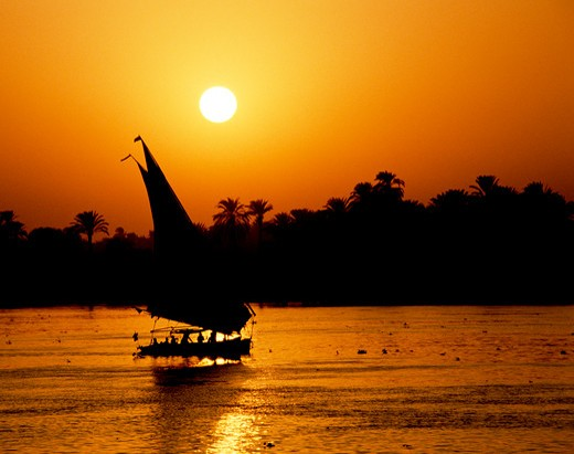 Felucca on the Nile, Luxor, Egypt : Stock Photo