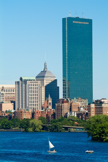 Stock Photo: 1701R-41843 Financial District in Boston, Massachusetts, with Charles River.