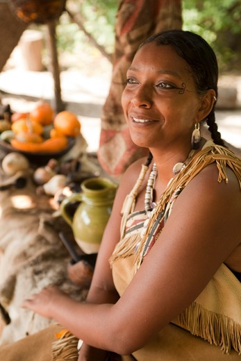 Stock Photo: 1701R-41867 Reenactor of Wampanaog Indian women.