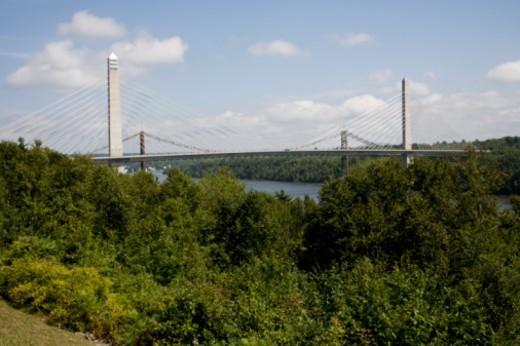 Penobscot Narrows Bridge, Prospect, Maine. : Stock Photo