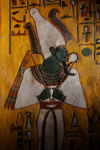 Osiris wearing Atef crown from the Tomb of Nefertari. : Stock Photo