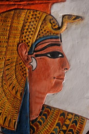 Nefertari wearing a vulture headdress of gold. : Stock Photo