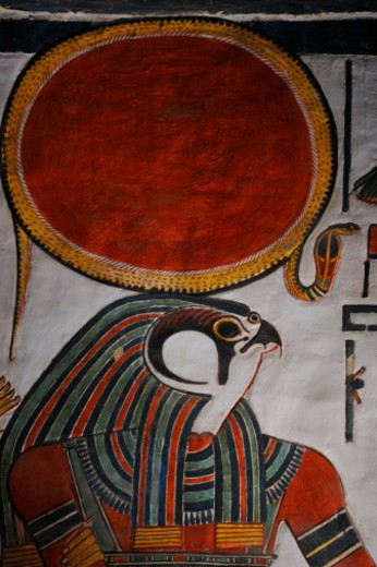 Stock Photo: 1701R-50161 Horus, the falcon-headed god, crowned with a sun disc.