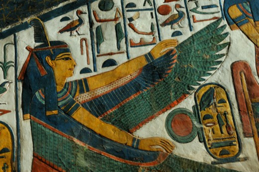 Stock Photo: 1701R-50455 The goddess Ma'at from the Tomb of Nefertari.