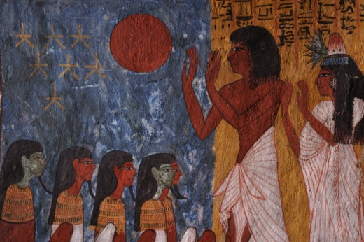 Stock Photo: 1701R-50877 Sennedjem adoring the horizon disc held up by the goddess Nut.