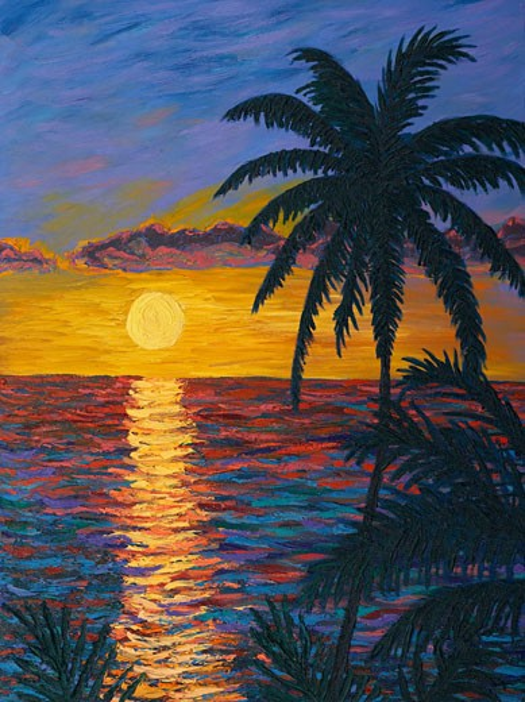 Stock Photo: 1715-109 Tropical Sunset 2006 Todd Muskopf (b.20th C. American) Oil on panel
