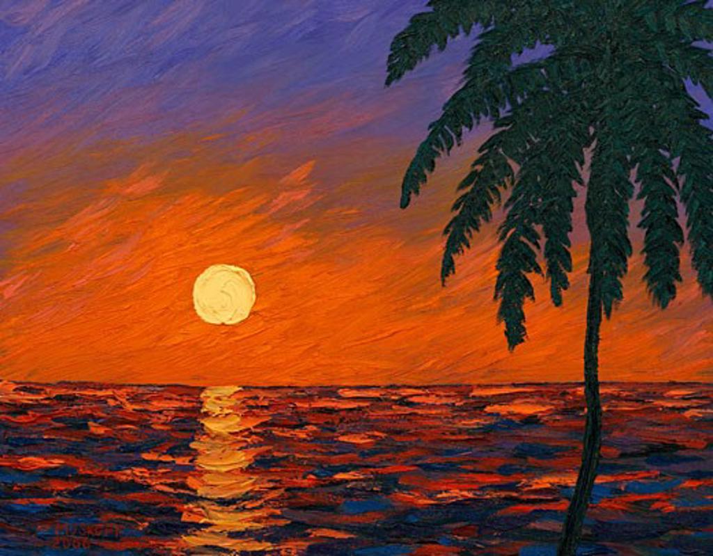 Calm Keys Sunset 2006 Todd Muskopf (b.20th C. American) Oil on panel : Stock Photo