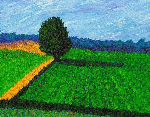 Summer Field 2006 Todd Muskopf (b.20th C. American) Oil on panel : Stock Photo
