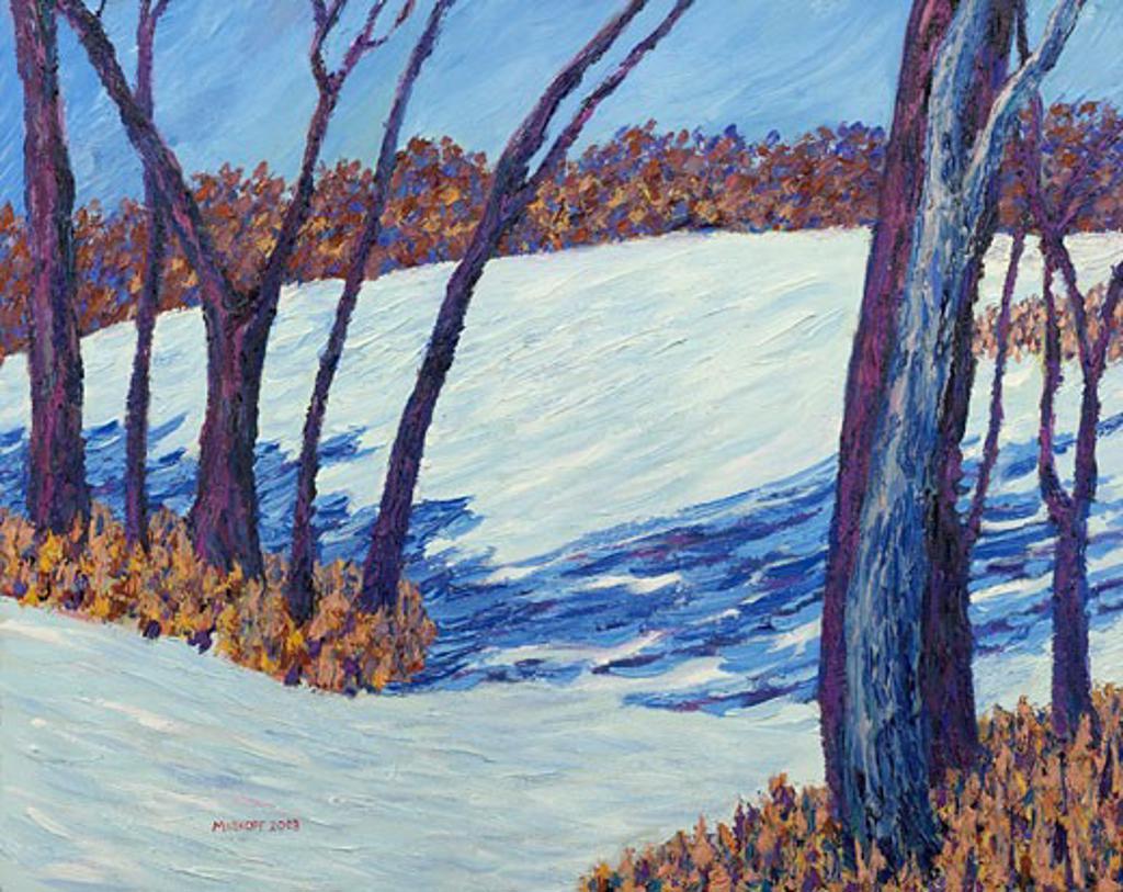 Snowy Hill 2003 Todd Muskopf (b.20th C. American) Oil on panel : Stock Photo