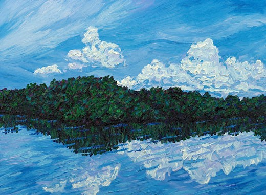 Stock Photo: 1715-143 Mangroves with Clouds 2003 Todd Muskopf (b.20th C. American) Oil on panel