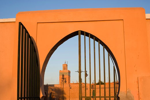 Stock Photo: 1726-131A Mosque viewed through an archway, Koutoubia Mosque, Marrakesh, Morocco