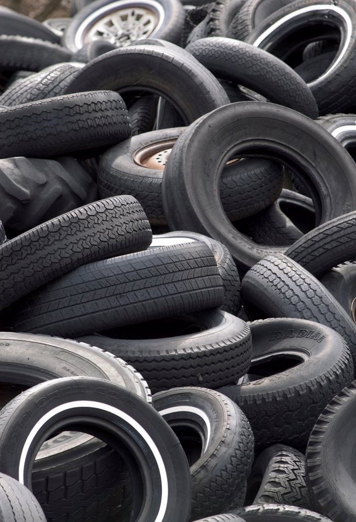 Heap of old tires : Stock Photo