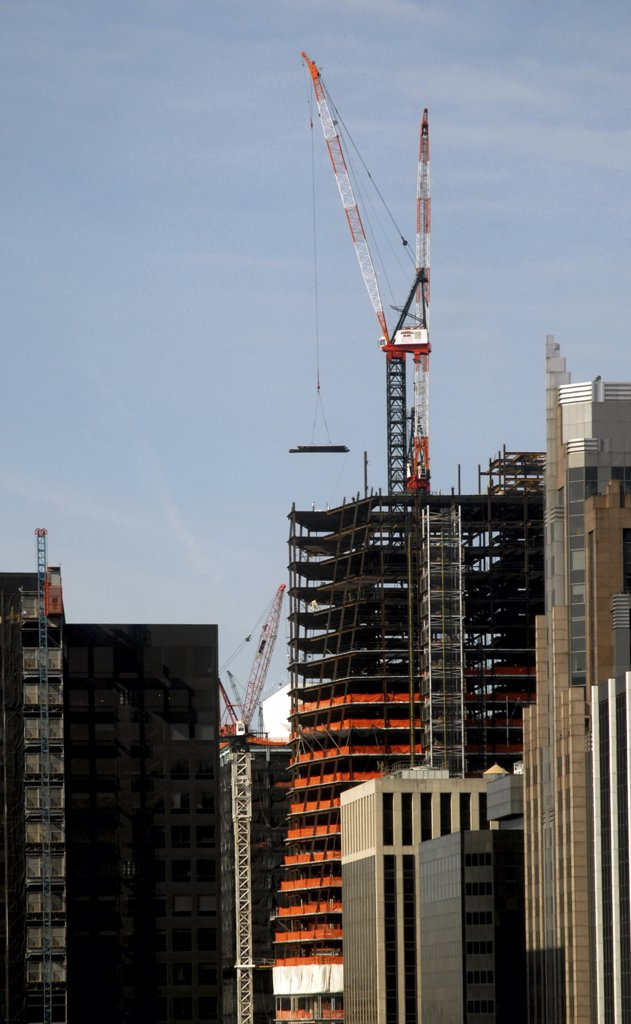 Cranes at a construction site, New York City, New York State, USA : Stock Photo
